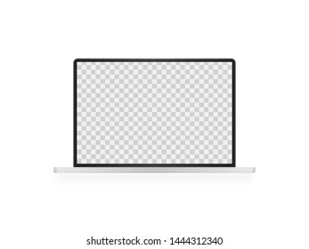 Open laptop with blank screen. Realistic laptop mockup. Computer screen front view. Vector illustration.