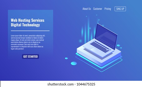 Open laptop, concept of web hosting services, computer technologies isometric vector illustration