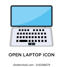 Open laptop icon vector isolated on white background for your web and mobile app design, Open laptop logo concept