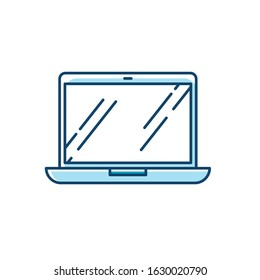Open laptop RGB color icon. Portable computer. Compact electronic gadget. Netbook, notebook, ultrabook. Mobile device. Digital technology. Isolated vector illustration