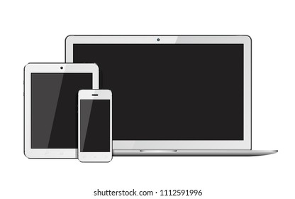 Open laptop, smartphone and tablet pc template for responsive design presentation. Isolated on white background.