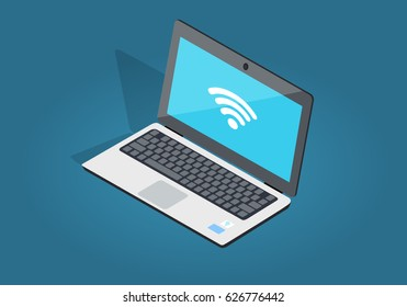 Open laptop with wi-fi connection flat and shadow theme isolated on blue. Sign of internet attachment on blue screen of notebook. Vector illustration of laptop and wireless network in cartoon style.