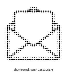 Open letter halftone dotted icon. Halftone array contains round dots. Vector illustration of open letter icon on a white background.