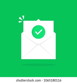 open letter like confirmation email. concept of reminder e-mail with checkbox or reading sms or popup. cartoon simple style trend modern ui logotype graphic button design isolated on green background