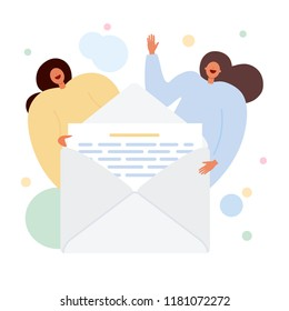 Open letter, mail, funny girl, woman isolated on white background. Send message. Paper document enclosed in an envelope. Delivery of correspondence, office documents. Vector cartoon design