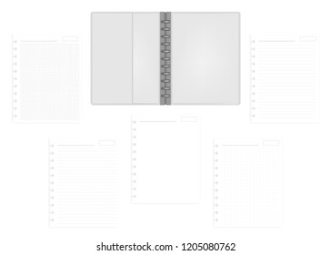 Open letter size disc bound notebook folder with set of various ruled hole punched filler paper sheets, vector mockup. Gray leather discbound loose leaf business diary, template