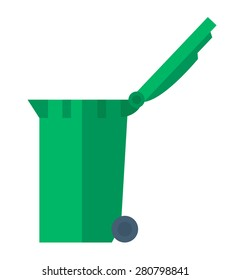 An open lid green waste container. A Contemporary style. Vector flat design illustration isolated white background. Vertical layout.