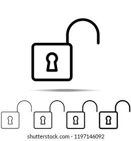 Open lock icon in different shapes, thickness. Simple outline vector of web for UI and UX, website or mobile application