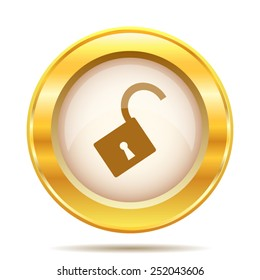 Open lock icon. Internet button on white background. EPS10 vector.