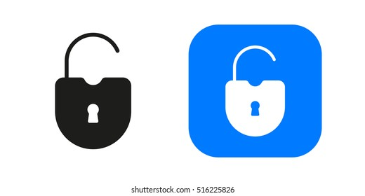 Open lock icon isolated on background. Minimalistic open lock. Vector icons for web and mobile applications, web sites and infographics