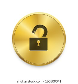 Open lock icon on metal golden button. Vector background.