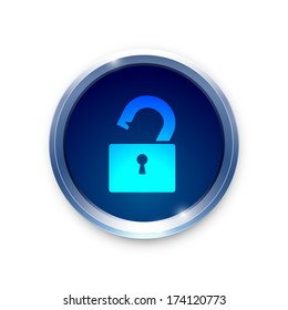 Open lock icon on metal blue button. Vector background.