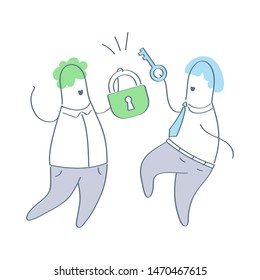 Open the lock, padlock with key, find solution, get access, unlocking, password, privacy icon concept. Two cartoon characters with the lock and key. Thin line isolated ui vector illustration on white