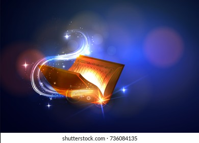 Open the magic book with bright lights. Vector illustration.