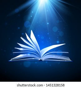 Open magic book on blue background. Fantasy light and sparkles. Vector illustration