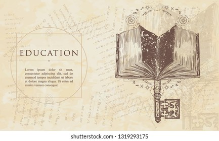 Open magic book and vintage key. Education concept. Renaissance background. Medieval engraving manuscript. Vintage paper with drawings, vector