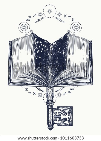 Open magic book and vintage key tattoo and t-shirt design. Symbol of wisdom, lives and death, education, literatures, poetry, reading