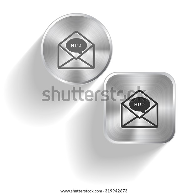 open mail with chat. Vector set steel buttons