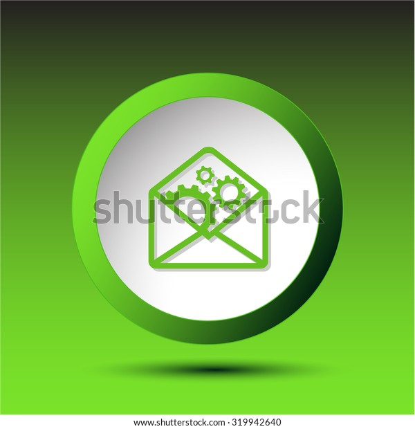 open mail with gears. Plastic button. Vector illustration.