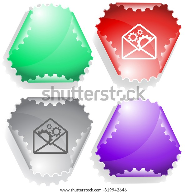 open mail with gears. Vector sticker.