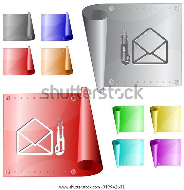 open mail with knife. Vector metal surface.