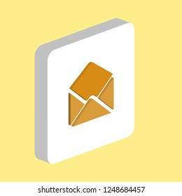 Open Mail Simple vector icon. Illustration symbol design template for web mobile UI element. Perfect color isometric pictogram on 3d white square. Open Mail icons for you business project