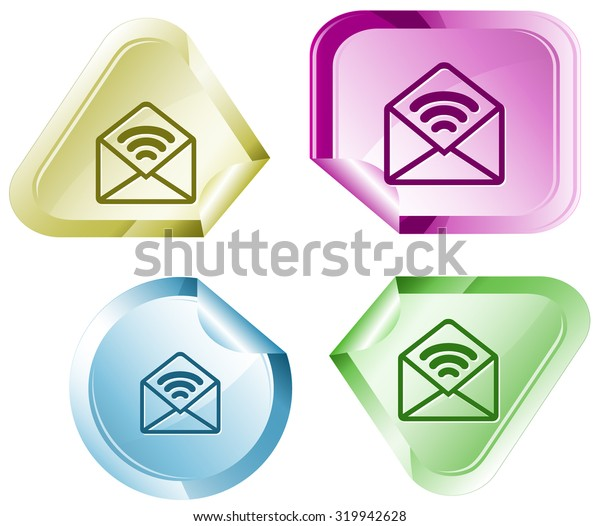 open mail with sound. Vector sticker.
