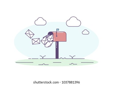 Open mailbox allowing mail envelop letters inside. Vector trendy illustration with mailbox, correspondence, sky and clouds