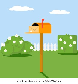 Open the mailbox with a letter set on a green lawn with grass shrubs and flowers. Vector, illustration EPS10.