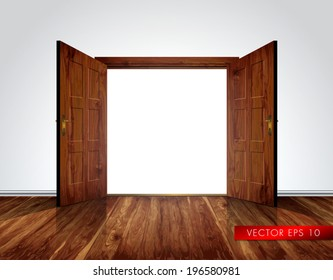 Open massive wooden big double door; white wall with decorative white moldings - vector background