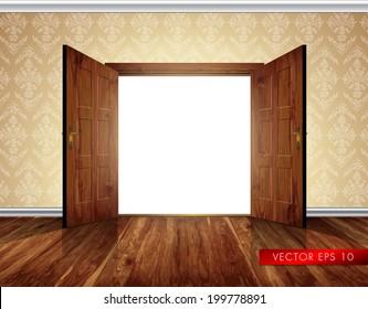 Open massive wooden big double door; wallpaper with decorative white moldings - vector background