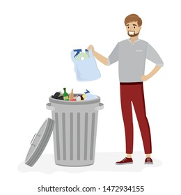 Open metal trash can with garbage.Young man throws a bag with garbage. Isolated on white background. Waste disposal and recycling. Cartoon male character. Flat vector illustration