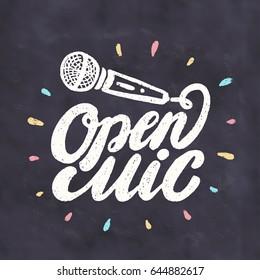 Open mic. Chalkboard sign.