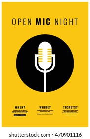 Open Mic Night (Flat Style Vector Illustration Performance Show Poster Design) with Where, When And Ticket Details