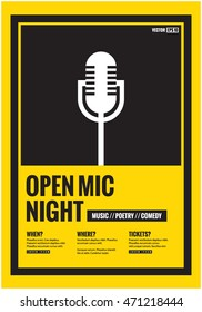 Open Mic Night! (Flat Style Vector Illustration Performance Show Poster Design) with Where, When And Ticket Details