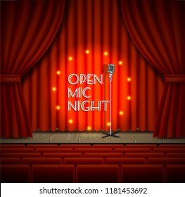 Open mic night live show background. Vector realistic illustration of empty theater stage with red curtains, lights, microphone and chairs for audience.