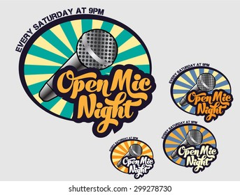 Open Mic Night- Logo for event, comedy club, bar, pub, nightclub, venue, cafe, stand up show, karaoke place, anything related to entertainment and show business