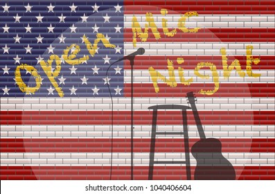 An Open Mic Night With Spotlight on guitar, stool and microphone on a USA flag Background