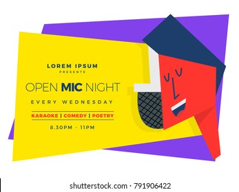Open Mic Night template for karaoke / poetry / stand-up comedy. Man and Mic. Vector Illustration.