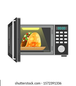 open microwell with delicious hot tacos inside. Hot food in the microwave. Open microflow door. Microwave oven icon. Simple illustration of microwave oven vector icon for web design isolated on white