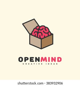 Open mind logo template design. Vector illustration.