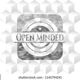 Open Minded retro style grey emblem with geometric cube white background