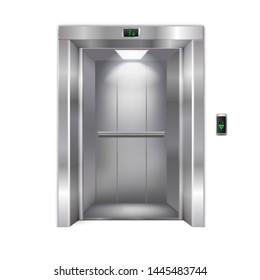 Open Modern Metal Elevator Doors