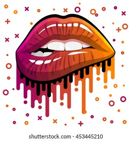 Open Mouth with bright color makeup paint flow Lips Biting