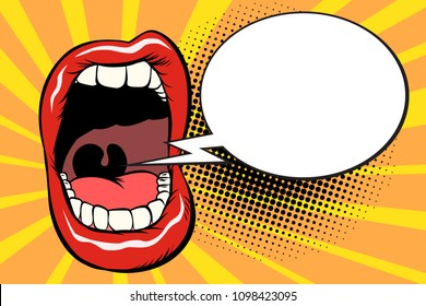 Open mouth comic balloon. Pop art retro vector illustration kitsch vintage