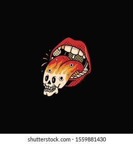 open mouth illustration with tongue, Mouth illustration with skull tongue, flash, skull design, vintage illustration, vector illustration, design, halftone, editable vector graphic,