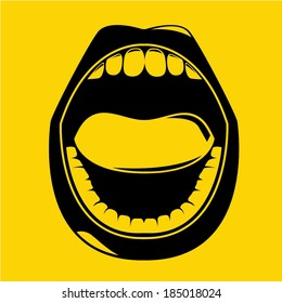 open mouth on yellow background, gossip concept