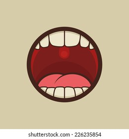 Open Mouth with Teeth and Tongue Vector illustration