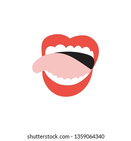 Open mouth with tongue out. Isolated flat illustration