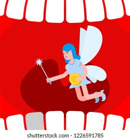 Open mouth and tooth fairy. Coin exchange for tooth